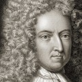 Daniel Defoe 1660 - 1731. English novelist and journalist. From the book 'Gallery of Portraits' published London 1833.