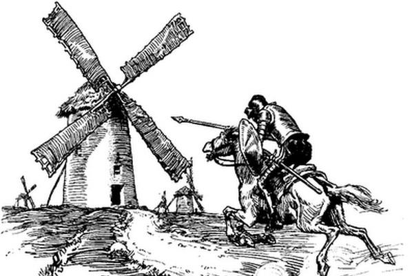 Ilustracija Don Kihotove borbe sa vetrenjačama